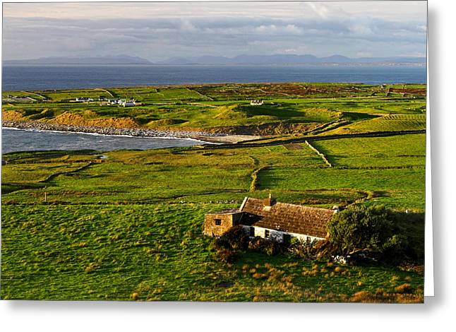 Irish Green Field On West Coast  Greeting Card by Pierre Leclerc Photography