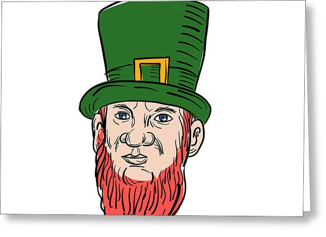 Irish Leprechaun Wearing Top Hat Drawing Greeting Card
