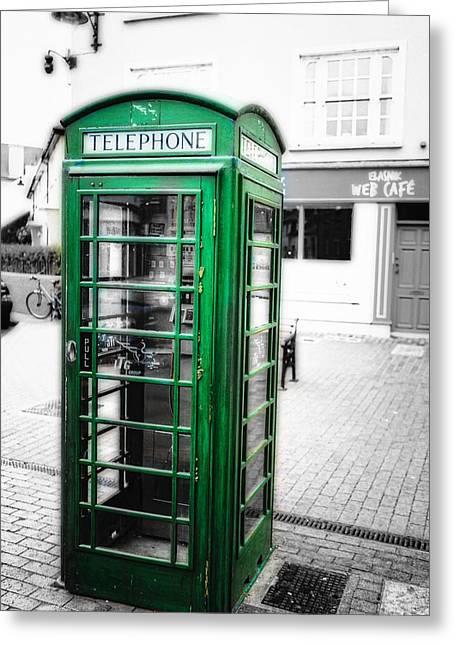 Irish Phone Booth In  Kinsale Greeting Card by George Oze