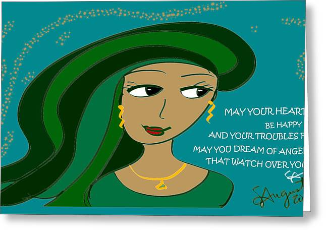 Irish Poem - May Your Heart Be Happy Greeting Card by Sharon Augustin