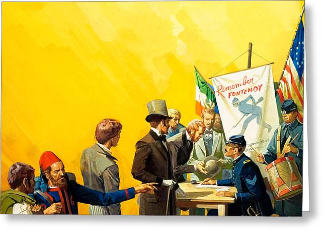 Irish Recruitment For The American Civil War Greeting Card by Severino Baraldi
