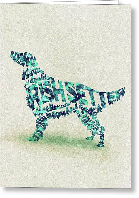 Irish Setter Watercolor Painting / Typographic Art Greeting Card