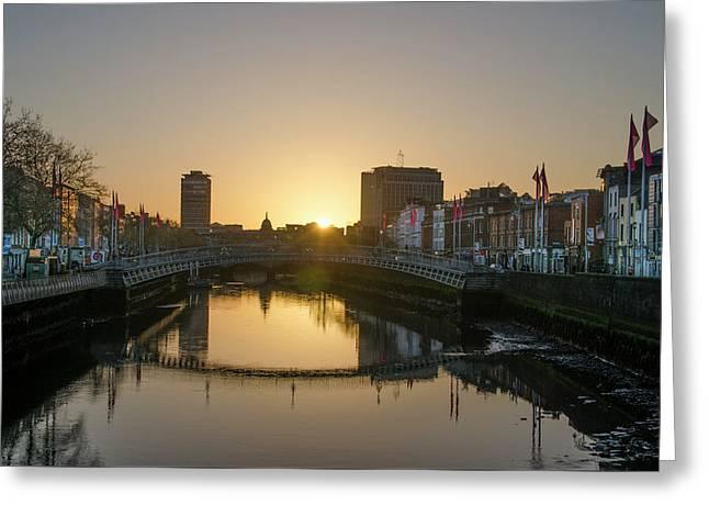 Irish Sunrise On The Liffey River Greeting Card by Bill Cannon