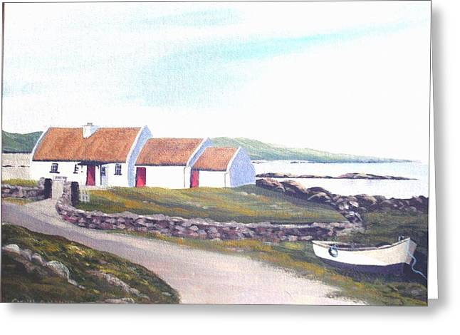 Irish Thatched Cottage Greeting Card by Cathal O malley