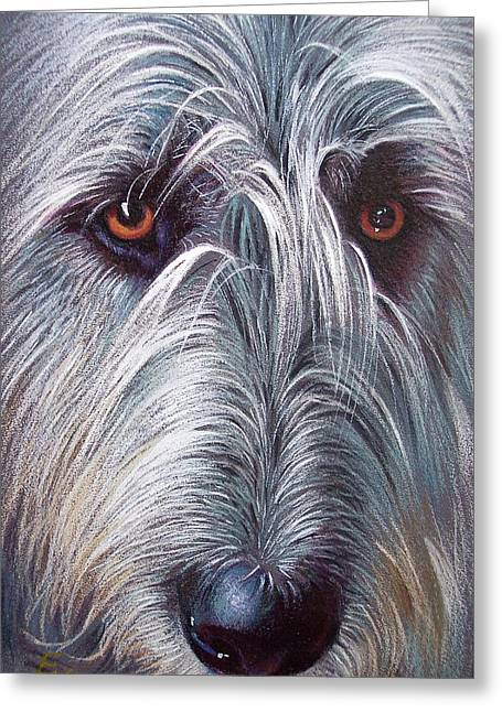 Irish Wolfhound Greeting Card by Elena Kolotusha