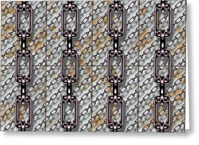 Iron Chains With Metal Panels Seamless Texture Greeting Card