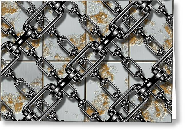 Iron Chains With Rusty Metal Panels Seamless Texture Greeting Card