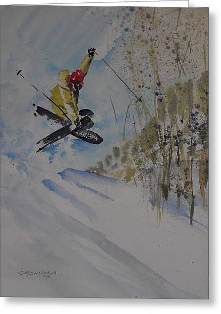 Skiing Action Paintings Greeting Cards - Iron Cross at Beaver Creek Greeting Card by Sandra Strohschein