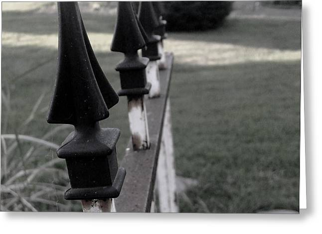 Iron Fence Greeting Card by Ali Dover