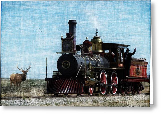 Iron Horse Invades The Plains Greeting Card by Lianne Schneider