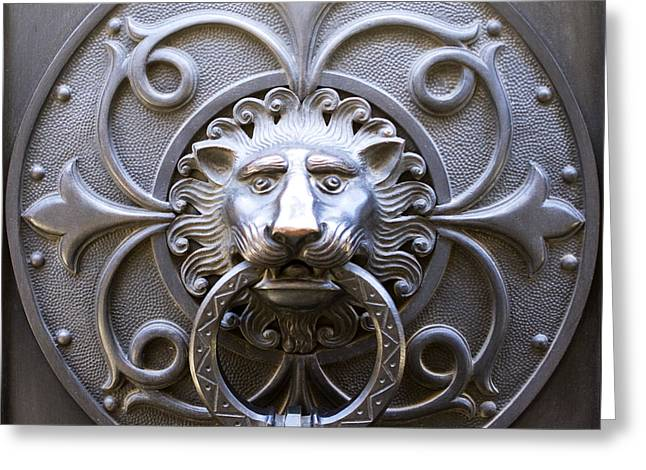 Iron Lion Greeting Card by Rob Tullis