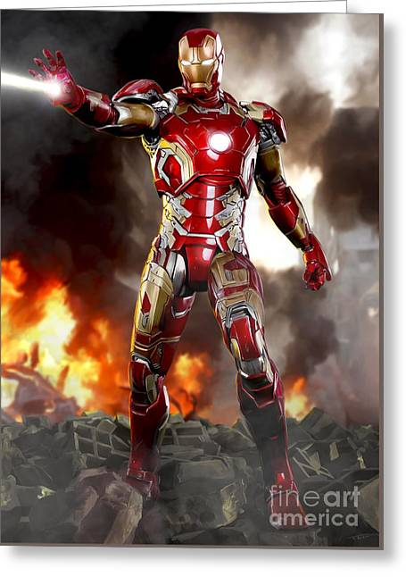 Iron Man - No Battle Damage Greeting Card by Paul Tagliamonte