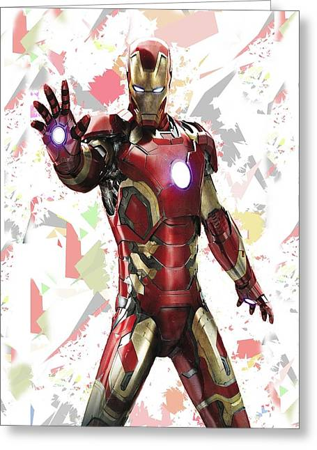 Iron Man Splash Super Hero Series Greeting Card by Movie Poster Prints