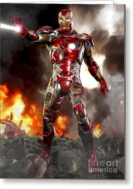 Iron Man With Battle Damage Greeting Card