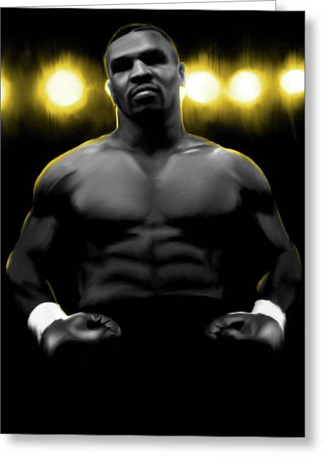 Iron Mike Tyson Greeting Card by Donald Lawrence
