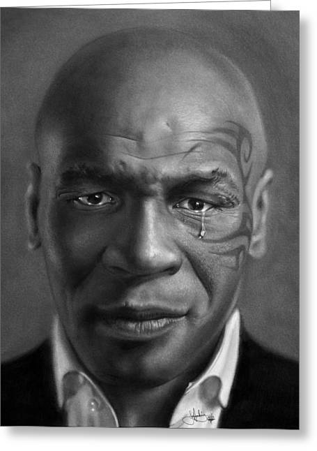 Iron Mike Tyson Drawing Greeting Card by John Harding