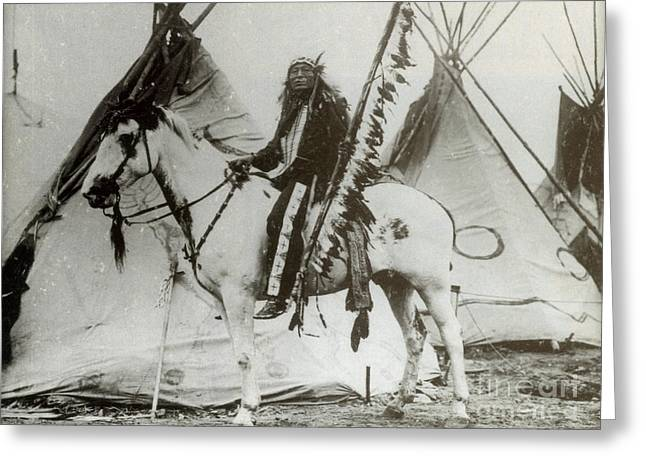 Iron Tail Sioux Chief Early 1900s Greeting Card by Photo Researchers