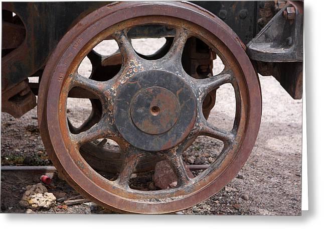 Iron Train Wheel Greeting Card by Aidan Moran