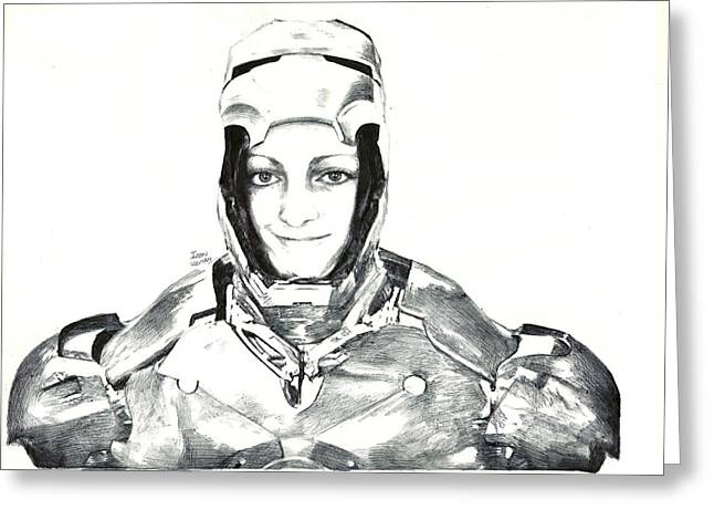 Iron Woman Greeting Card by Benjamin McDaniel