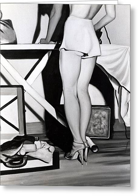 Photo-realism Greeting Cards - Ironing-board Lady Greeting Card by Anthony Masterjoseph