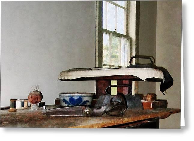 Ironing Day Greeting Card by Susan Savad