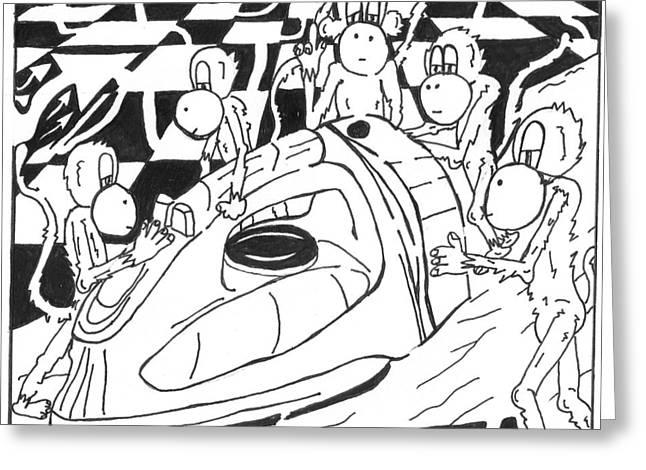Ironing Monkeys Maze Cartoon Greeting Card by Yonatan Frimer Maze Artist