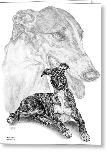 Kelly Greeting Cards - Irresistible - Greyhound Dog Print Greeting Card by Kelli Swan