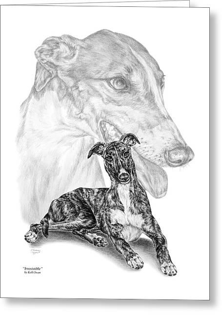 Irresistible - Greyhound Dog Print Greeting Card