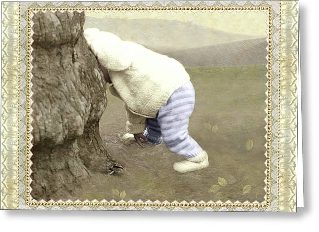 Is Bunny Behind Tree? Greeting Card