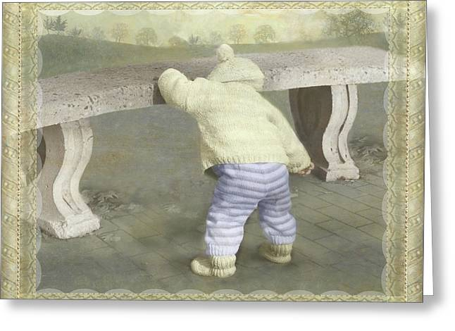 Is Bunny Under The Bench? Greeting Card