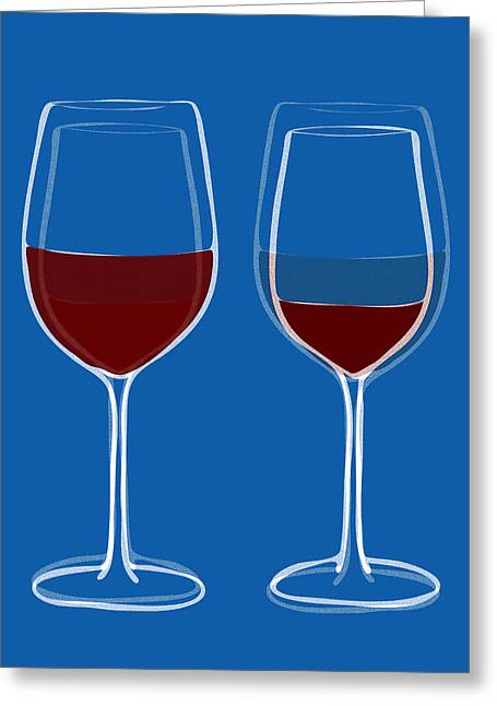 Wine Tasting Greeting Cards - Is the glass half empty or half full Greeting Card by Frank Tschakert