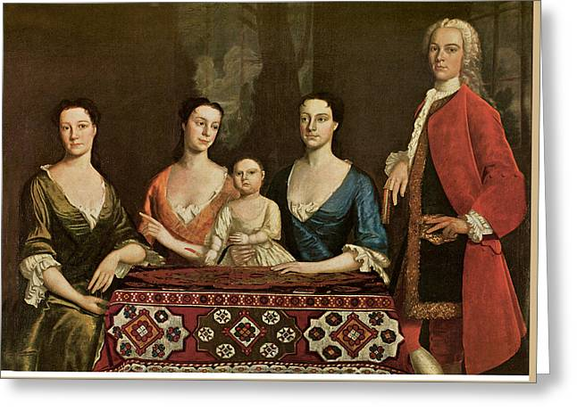 Isaac Royall And His Family Greeting Card by Robert Feke