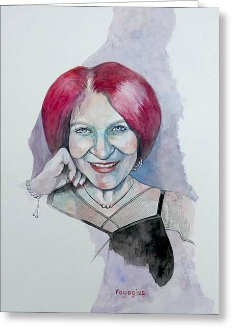 Greeting Card featuring the painting Isabella by Ray Agius