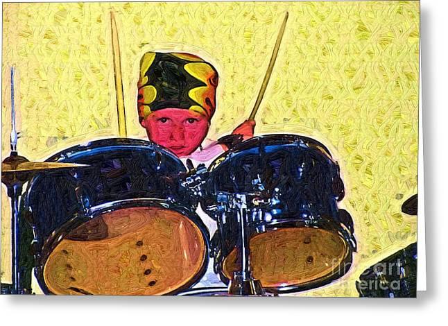 Isaiah The Drummer Greeting Card by Deborah MacQuarrie-Selib
