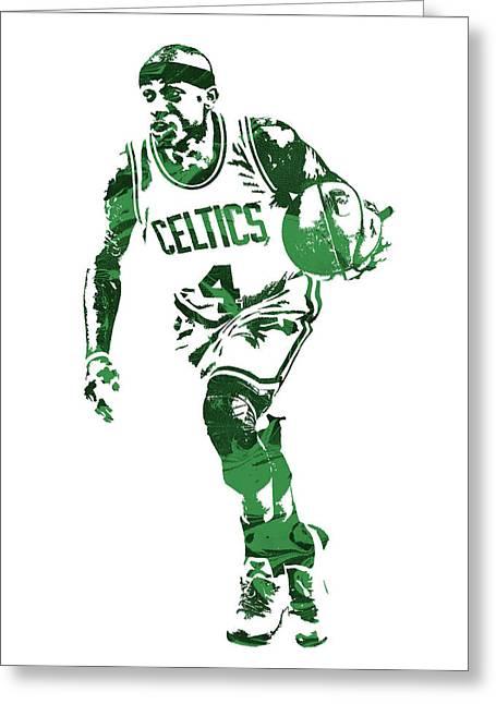 Isaiah Thomas Boston Celtics Pixel Art 4 Greeting Card by Joe Hamilton