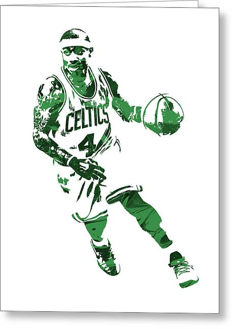 Isaiah Thomas Boston Celtics Pixel Art 6 Greeting Card by Joe Hamilton