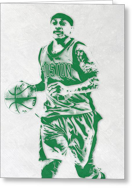 Isaiah Thomas Boston Celtics Pixel Art Greeting Card by Joe Hamilton