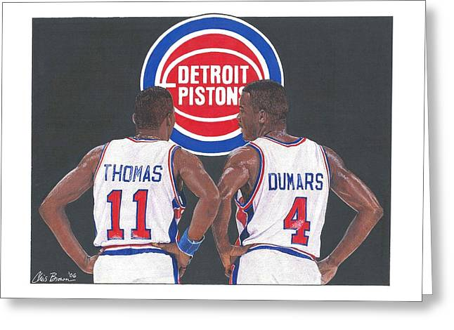 Isiah Thomas And Joe Dumars Greeting Card