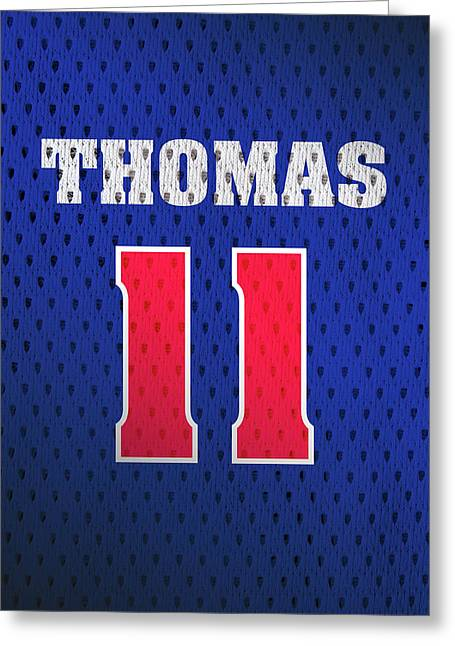 Isiah Thomas Detroit Pistons Number 11 Retro Vintage Jersey Closeup Graphic Design Greeting Card