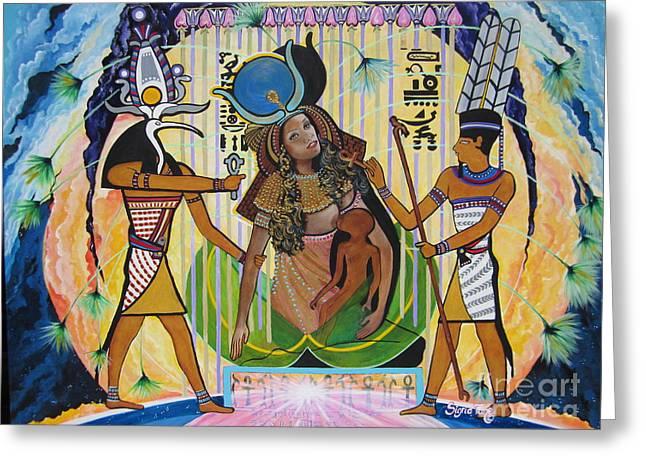 Blaa Kattproduksjoner     Presents Isis Giving Birth To Horus Greeting Card