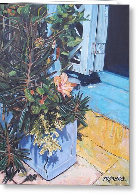 Isla Mujeres Doorstep Greeting Card by Peggy Selander
