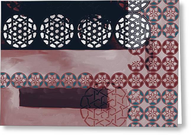 Islamic Motif Vii 446 3 Greeting Card by Mawra Tahreem