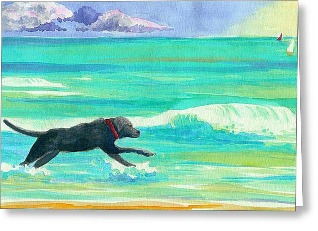 Islamorada Dog Greeting Card by Anne Marie Brown