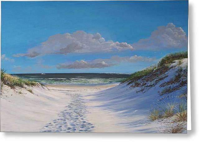 Greeting Card featuring the painting Island Beach Dune Walk by Ken Ahlering