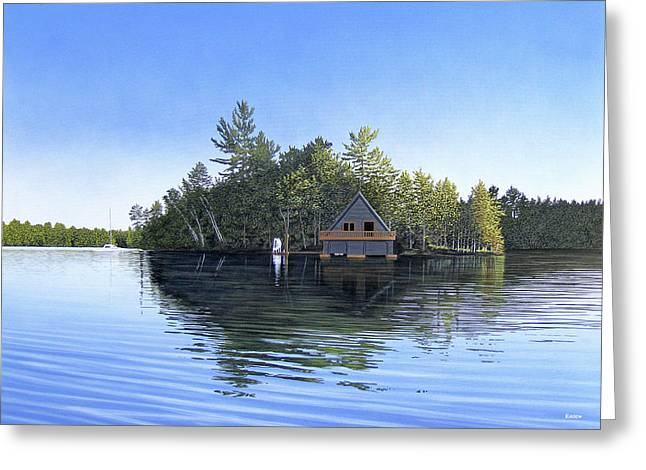 Greeting Card featuring the painting Island Boathouse Muskoka  by Kenneth M Kirsch