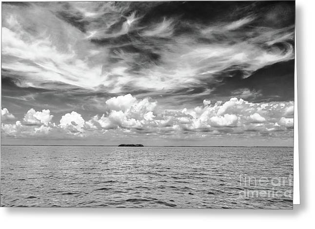 Island, Clouds, Sky, Water Greeting Card