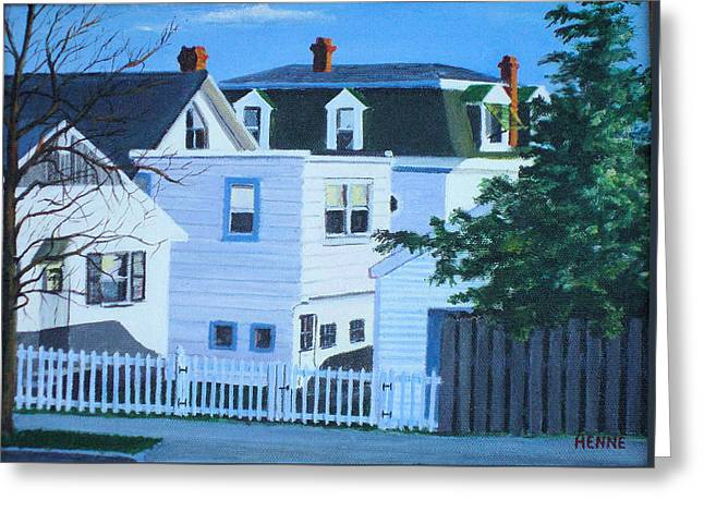 Greeting Card featuring the painting Island Heights Back Yards by Robert Henne