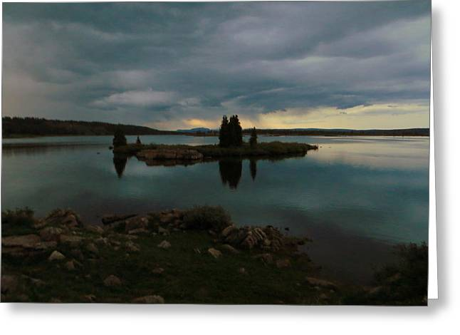 Greeting Card featuring the photograph Island In The Storm by Karen Shackles