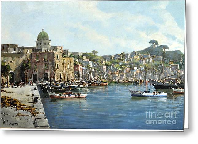 Greeting Card featuring the painting Island Of Procida - Italy- Harbor With Boats by Rosario Piazza