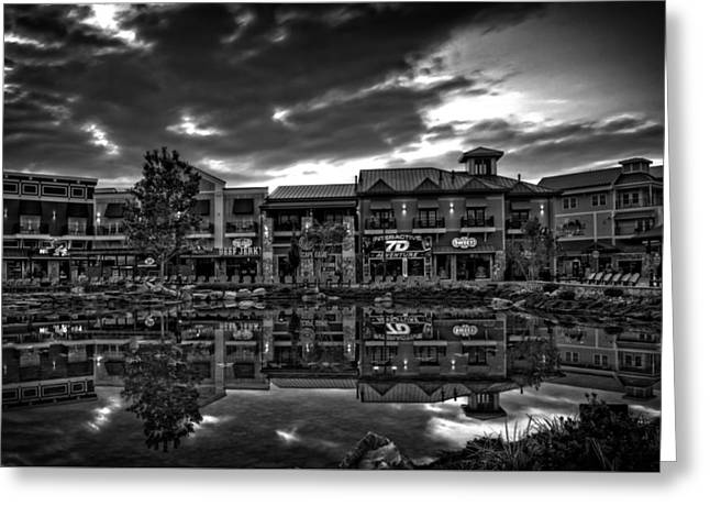 Island Reflection In Black And White Greeting Card by Greg Mimbs